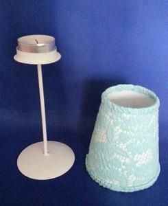 Blauw kanten lampje met waxinelichtje